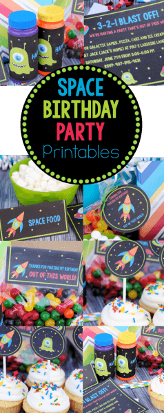 Space Birthday Party Invitations & Party Pack