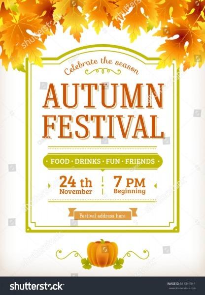 Autumn Festival Invitation Fall Party Template Stock Vector