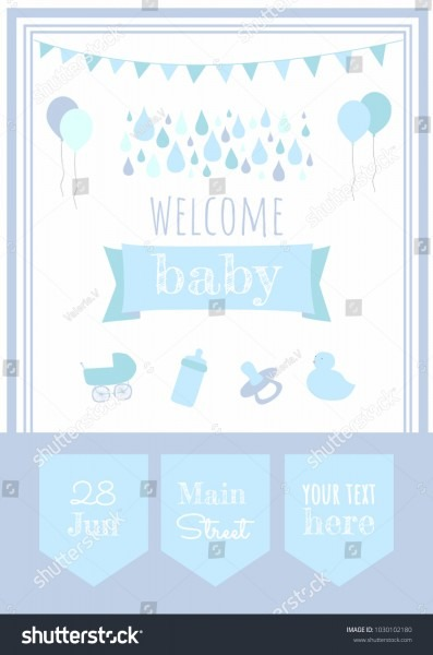 Baby Shower Party Invitation Template Welcome Stock Vector