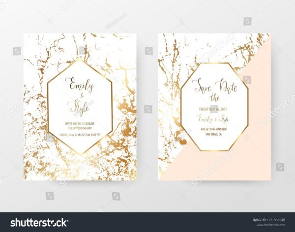 Marble Wedding Invitation Cards Gold Geometric Stock Vector
