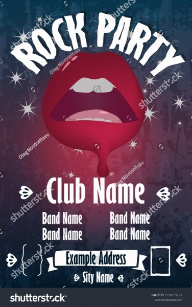 Rock Lips Poster Template Lips Vector Stock Vector (royalty Free