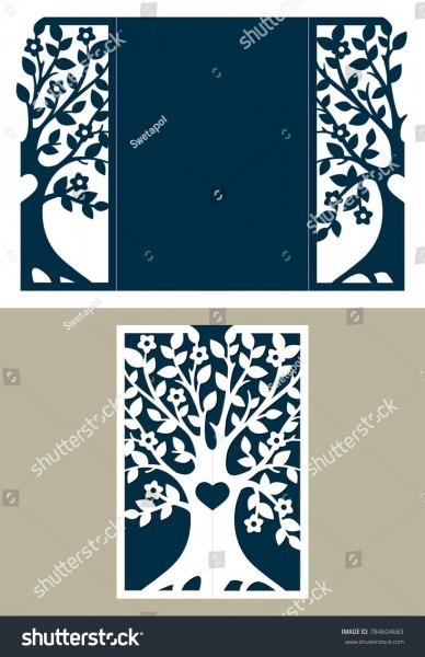Two Fold Wedding Invitation Template Tree Stock Vector (royalty