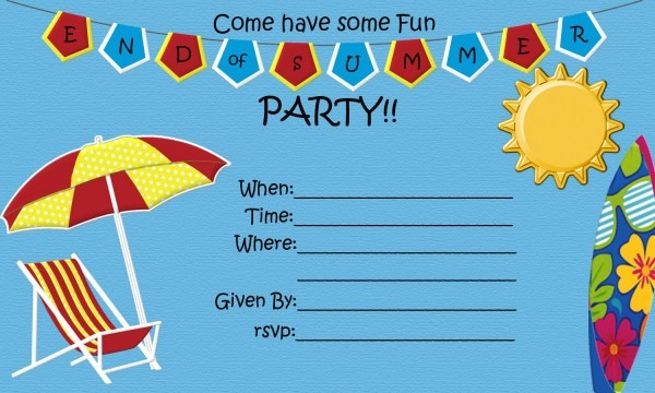 End Of Summer Party {free Printable}