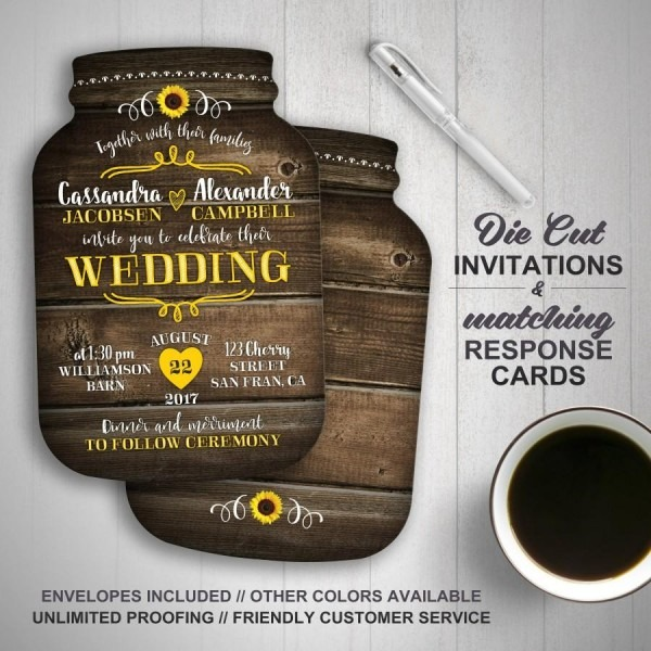 Sunflower Wedding Invitation, Mason Jar Wedding Invitations, Mason
