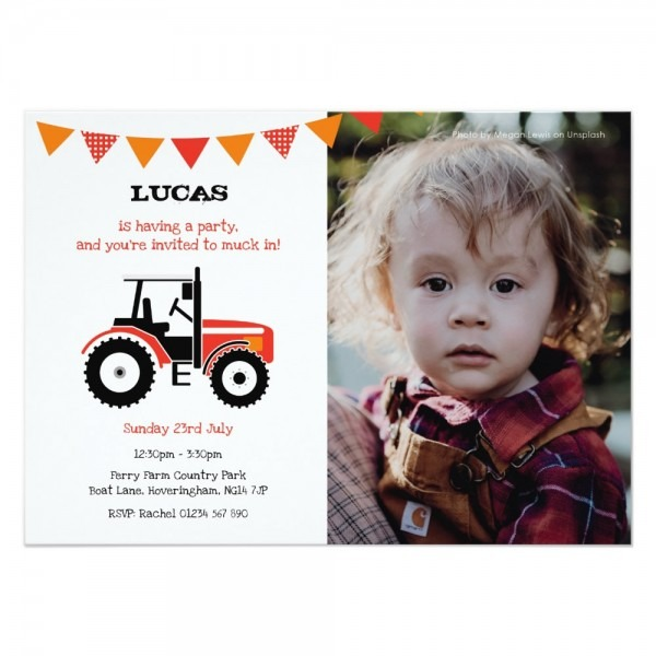 Red Tractor Birthday Party Invite With Photo ~ Jelly Confetti