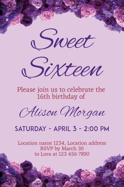 Sweet Sixteen  Invitation Image