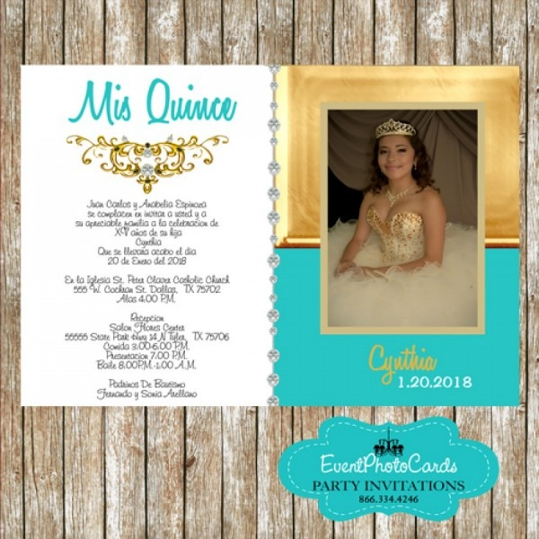 Teal & Gold 15th Birthday Photo Invitations Party, Sweet 16 Or Bat