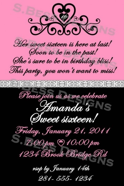 Invitation  Sweet 16 Invitations Templates