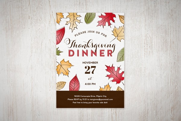 Free Printable Friday  Fall Leaves Thanksgiving Dinner Invitation