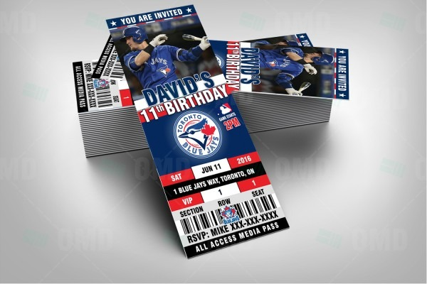 Toronto Blue Jays Ticket Style Sports Party Invitations – Sports