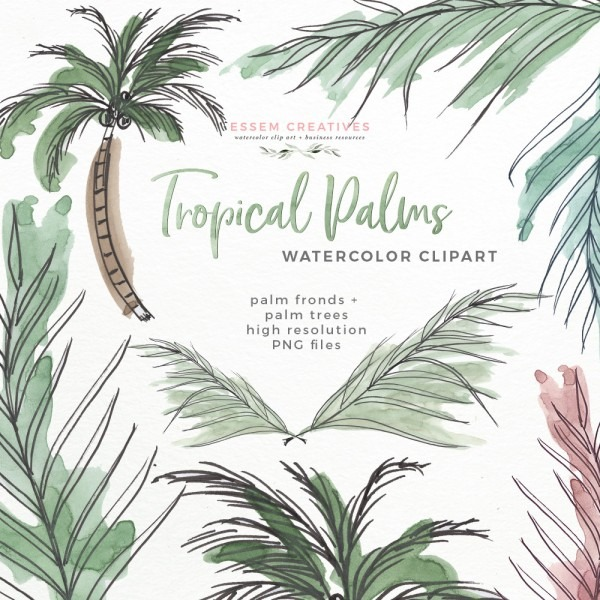 Tropical Palm Trees Fronds Leaf Print Greenery Clipart