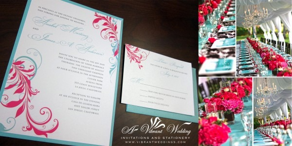Teal And Red Wedding Invitations