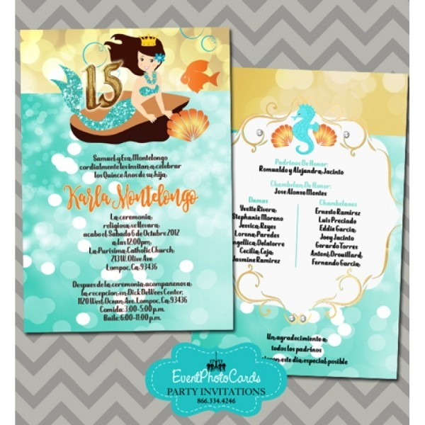 Under The Sea Quinceanera Invitations Turquoise , 15th Birthday