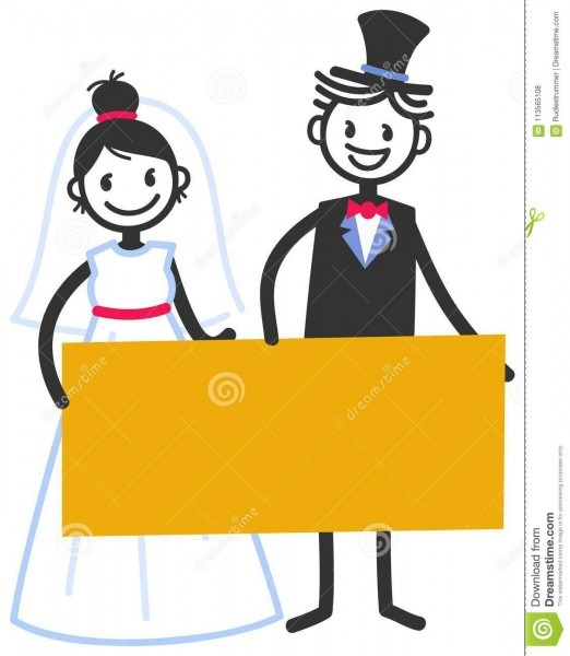 Vector Wedding Illustration Of Cute Stick Figures Bridal Couple