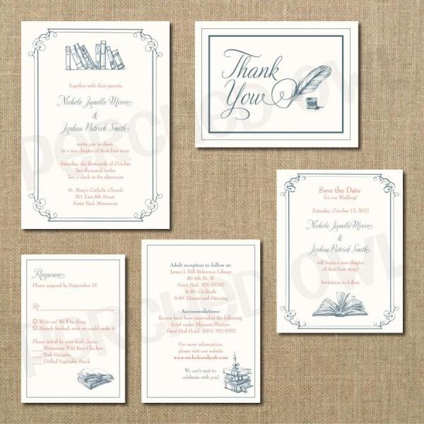 Vintage Library Wedding Invitation