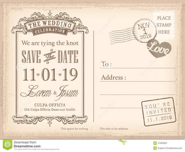 Vintage Postcard Save The Date Background For Wedding Invitation