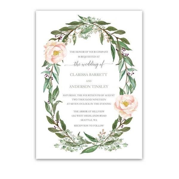 Floral Wedding Invitations Watercolor Greenery Wreath Blush