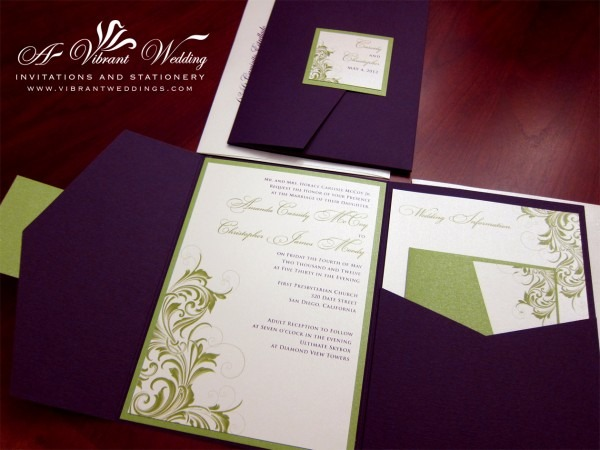 Purple And Green Wedding Invitation – A Vibrant Wedding Invitations