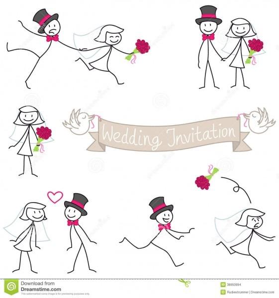 Wedding Couple Stickman Bride And Groom Stock Vector