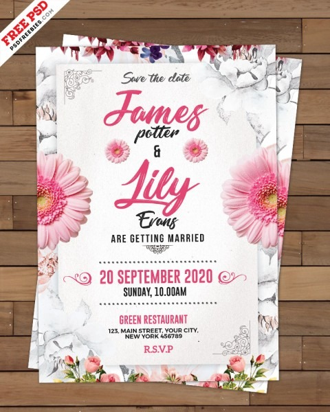 Wedding Invitation Card Template Psd