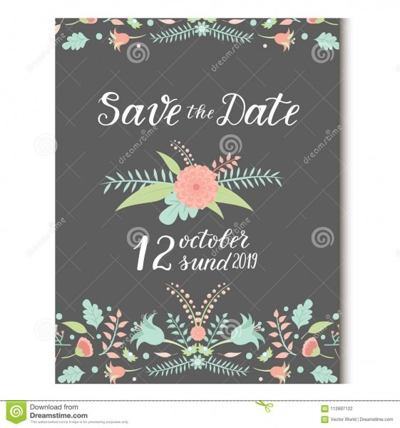 Wedding Invitation Card Vector Save The Date Suite With Flower
