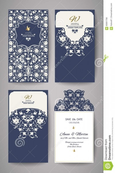 Wedding Invitation Or Greeting Card With Gold Floral Ornament