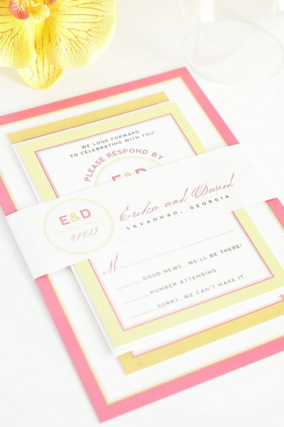 Pink And Orange Wedding Invitations With Yellow Accents – Wedding