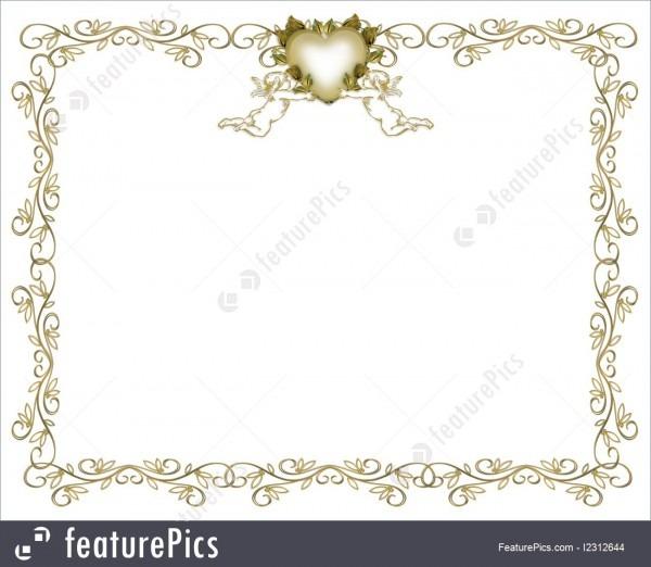Templates  Wedding Invitation Gold Border Angels