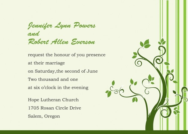 Wedding Invitation Wording Style — White Salmon Wines   New Ideas