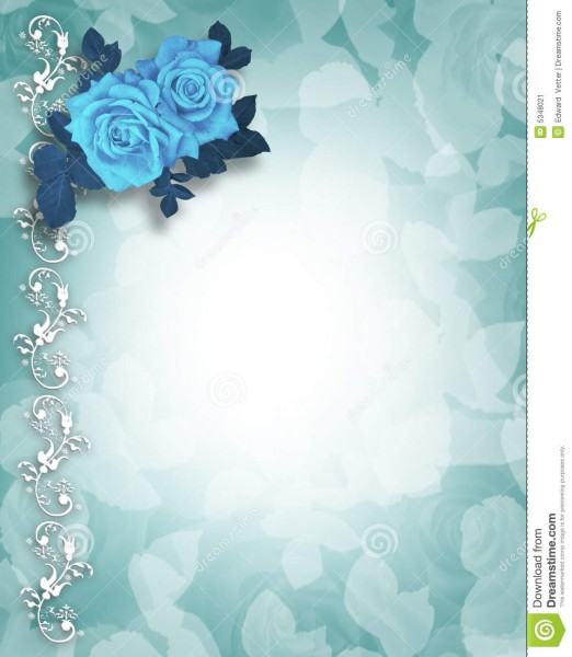 Wedding Or Party Invitation Blue Roses Stock Illustration