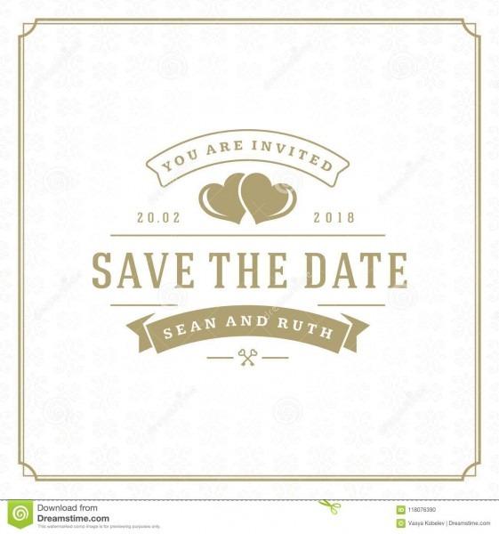 Wedding Save The Date Invitation Card Vector Illustration  Stock