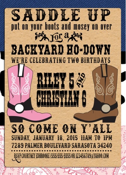 Western Party Invitations Western Party Invitations For Party