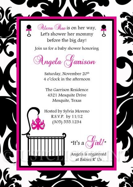 Elegant White Black Hot Pink Damask Baby Shower Invitation