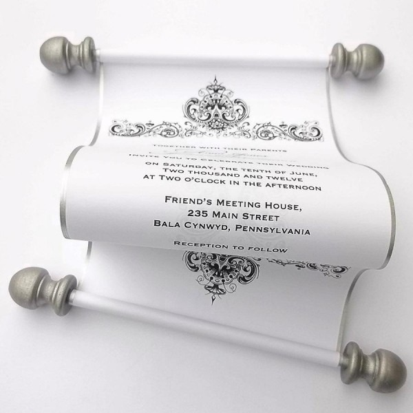 Winter Wedding Invitation Scroll, Antique Damask, Black And White