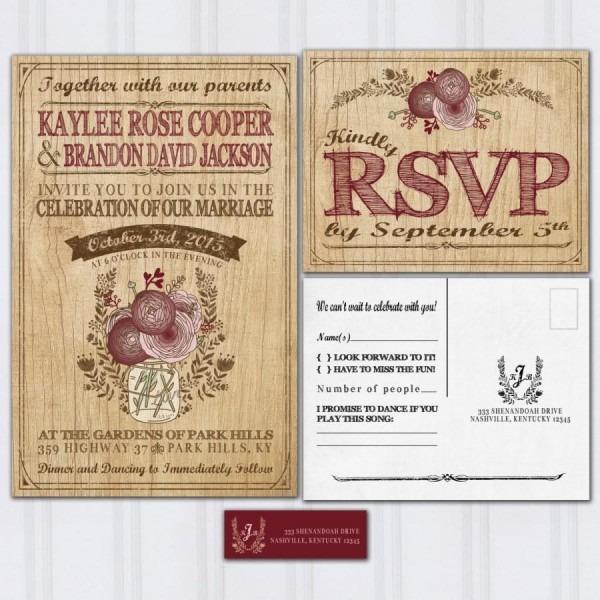 Wood Grain Wedding Invitations, Rustic Mason Jar, Boho Wedding