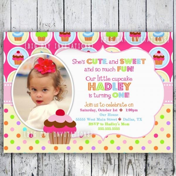 Year Invitation Birthday Cards Templates Cupcake Party Invitations