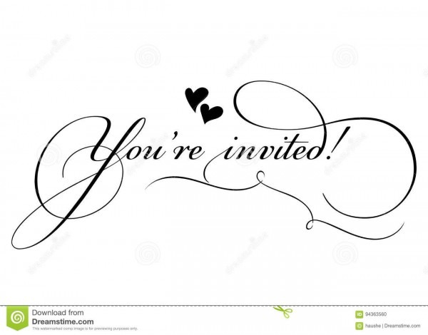 You're Invited! Vector Handmade Calligraphy With Twirl Stock