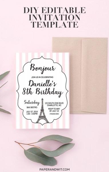 Paris Theme Party Invitations, Parisian Birthday Invitation Pink