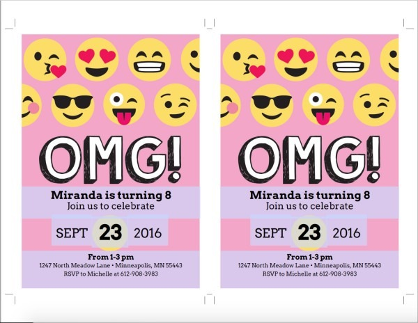 006 Template Ideas Emoji Birthday Invitation Pink Party Emoticon
