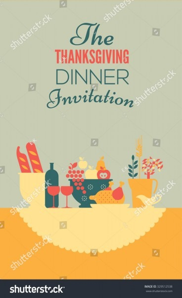 006 Thanksgiving Dinner Invitation Template Stock Vector With