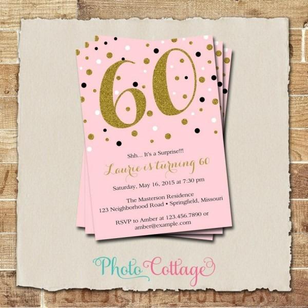 008 60th Birthday Invitation Gold Glitter Adult Invitations Party