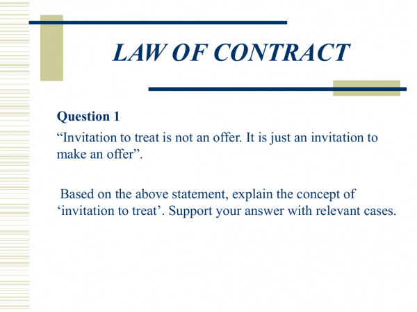 Law Of Contract Answer