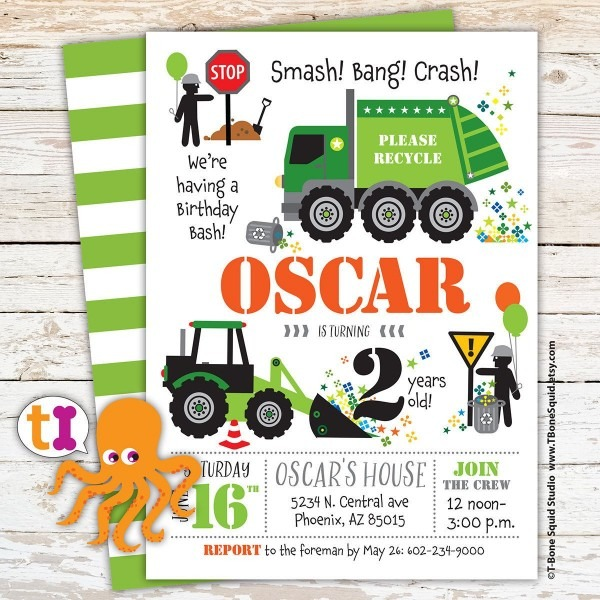 Garbage, Truck, Recycle, Birthday, Party, Invitation, For Kids By