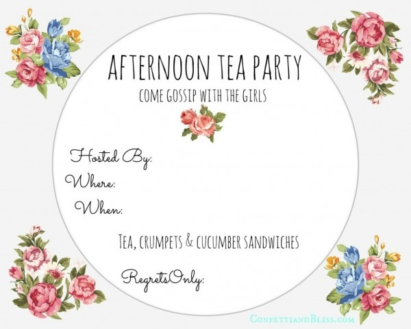 013 Free Tea Party Invitation Templates Best Afternoon Template