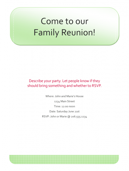 015 Family Reunion Invitations Front Side Tree Design Per Page