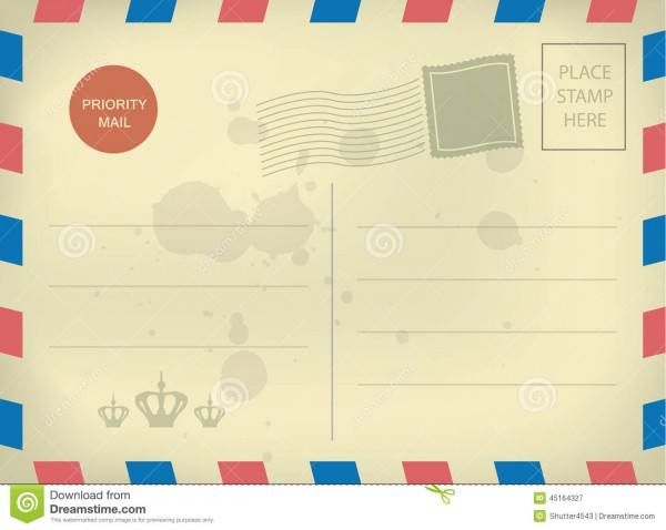 016 Vintage Blank Postcard Template Style Stamps Ideas Free