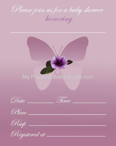 018 Flower Butterfly Girl Baby Shower Invitation Purple Logo
