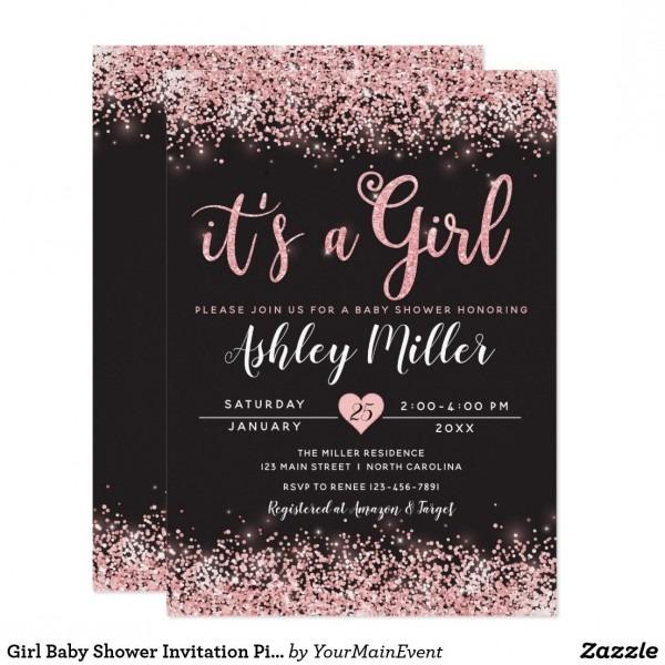 Girl Baby Shower Invitation Pink Black Chic