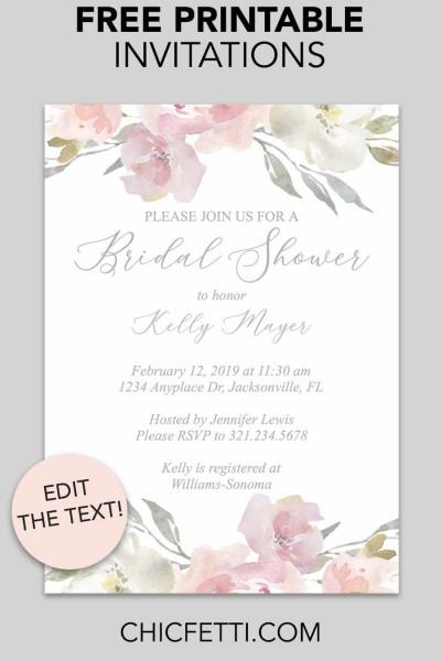 Bridal Shower Printable Invitation (blush Floral