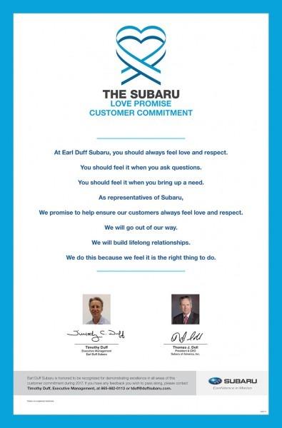 Subaru Love Promise Begins With Earl Duff Subaru In Harriman, Tn